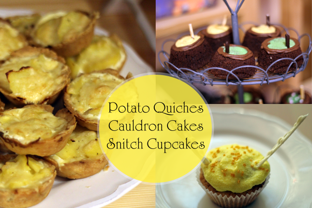 Collage Potato Quiche Cauldron Cakes Snitch Cupcakes